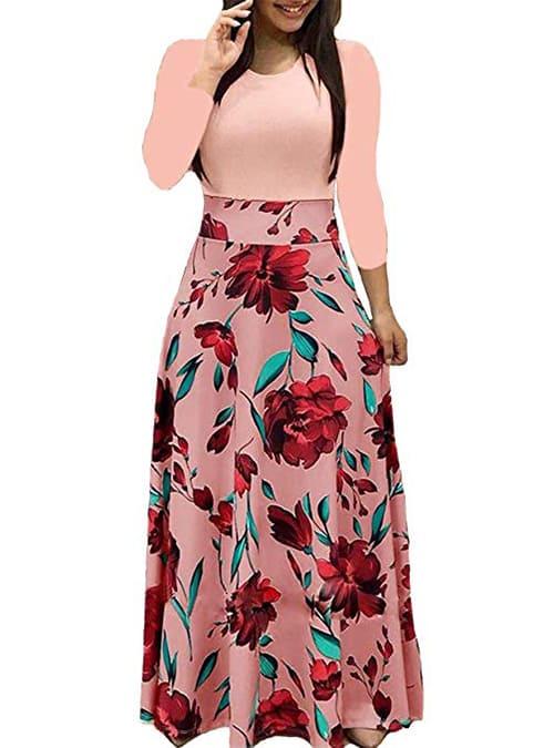 Women's Long Sleeve Maxi Dress Round