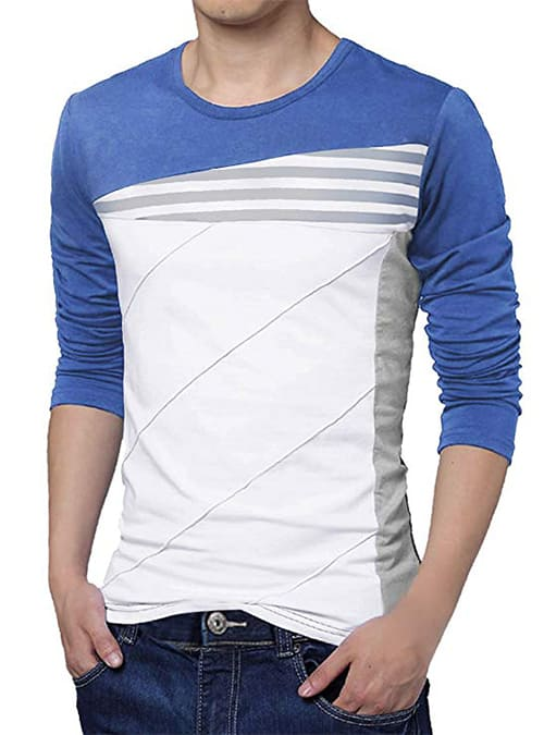 Cotton Men Round Neck Long Sleeve Pullover T-Shirt
