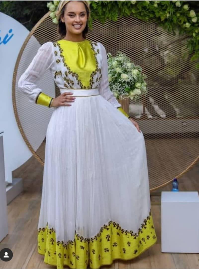 Adey Print on Menen Habesha Dress