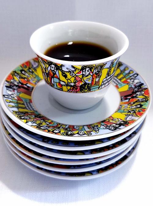 Ethiopian Cups Saucers Spoons Set