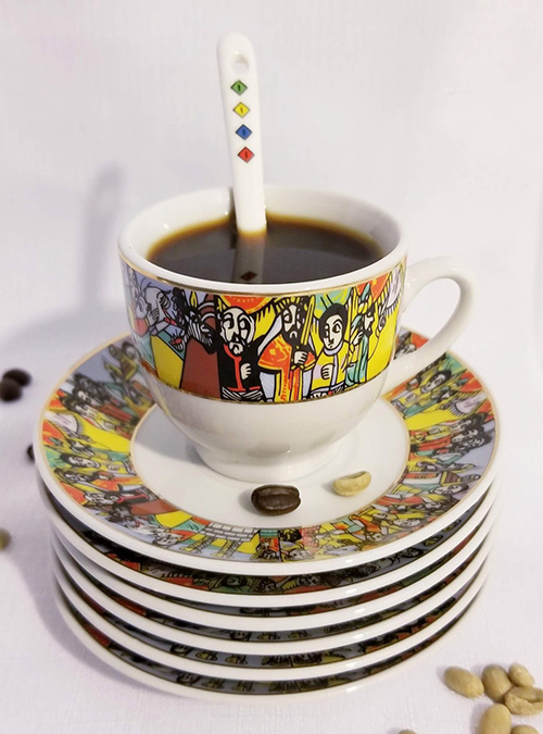 Sheba Design Cups Saucers Set