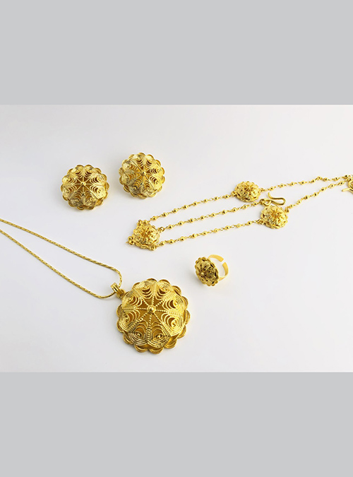 Gold plated chain Ring Pendant set