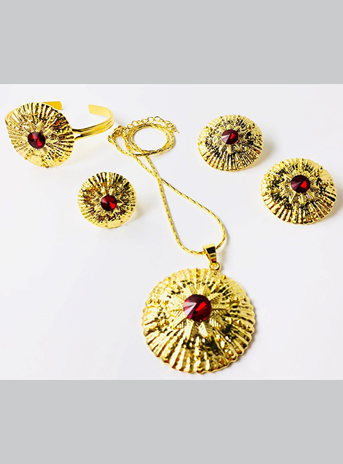 Keyih Red Chain ring bracelet set