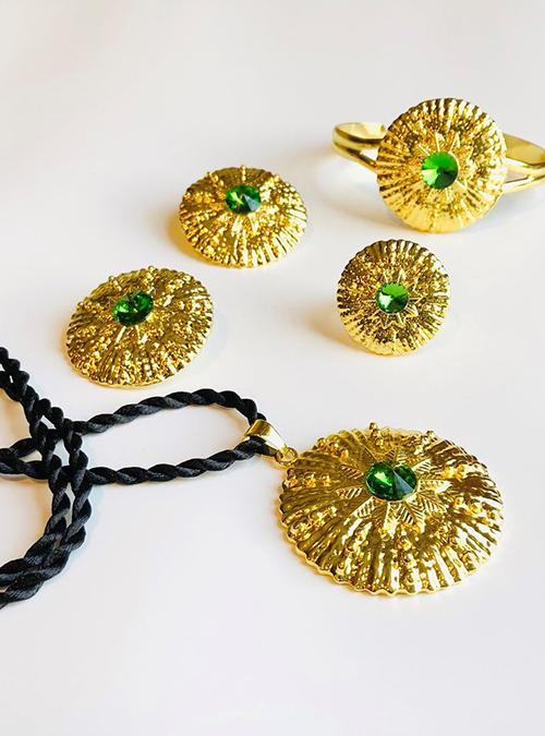 Green Pendant ring bracelet set