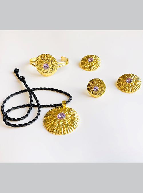 Lila Purple Ring Pendant set