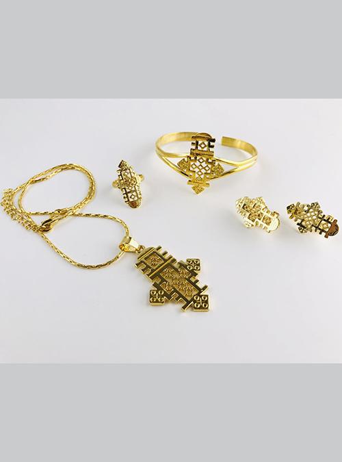 Pilgrimage Gold plated Ring Pendant set
