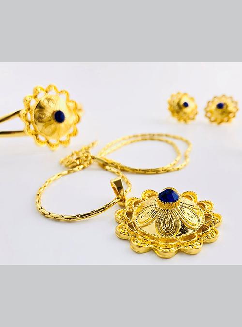 Dahlak Blue Chain ring bracelet set