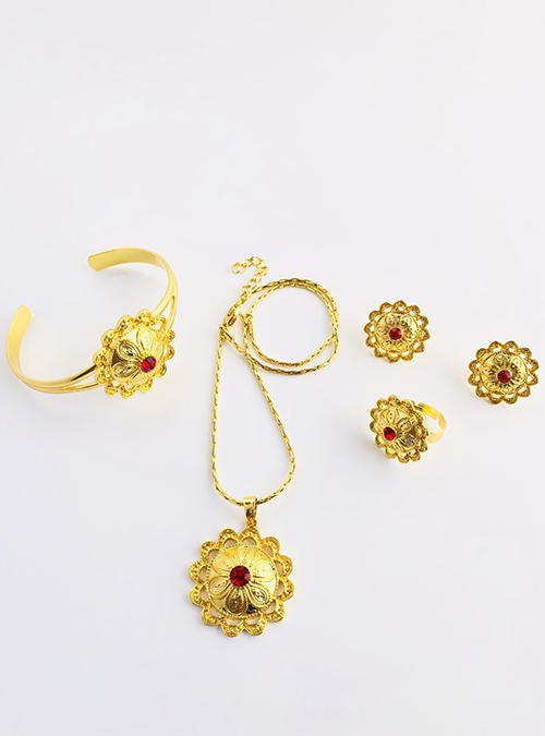 Zara Red Chain ring bracelet set