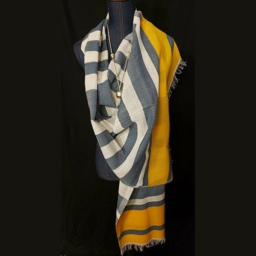 Ethiopian cotton shawl wrap yellow