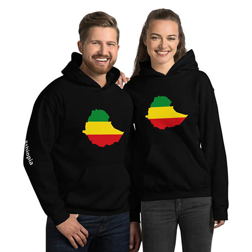 Ethiopian flag map unisex hoodie