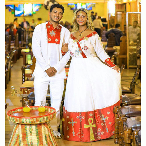 Ethiopian Couples Dress and T-shirt