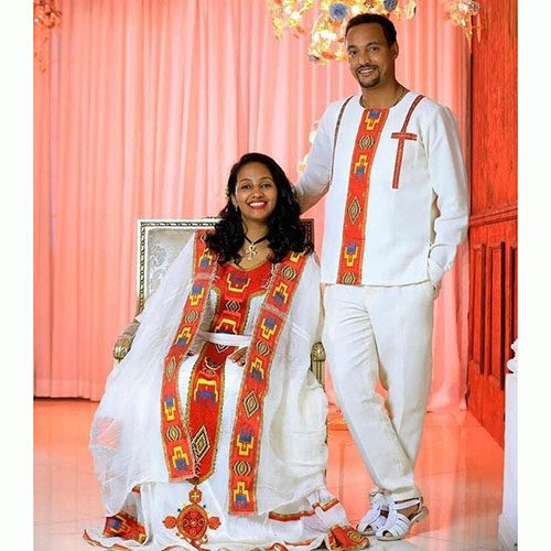 Couples Traditional Dress and T-shirt