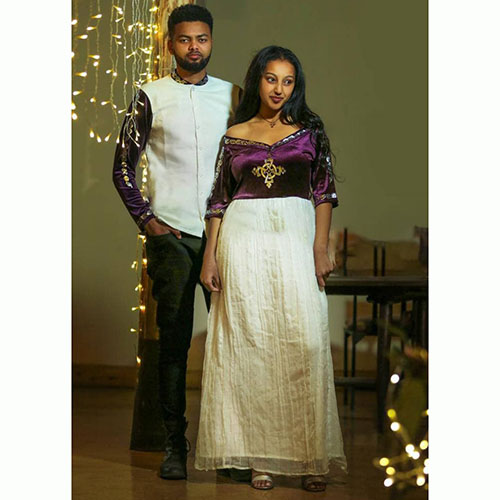 Traditional Ethiopian Couples Velvet Dress Clothe