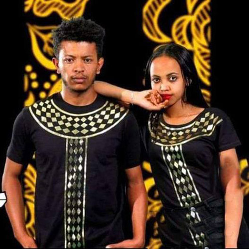 Custom Ethiopian Eritrian Black Traditional Tshirt