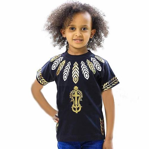 kids cotton fabric black t-shirt
