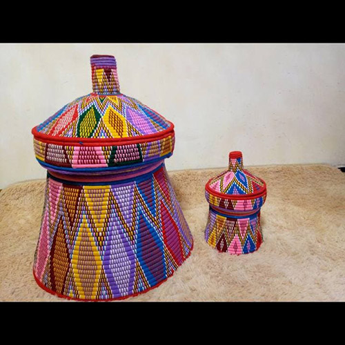 Large Colorful Hand Woven Mesob Ethiopian House Decor