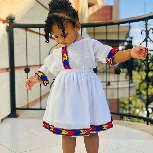 Cute Off Shoulder Two Piece Ethiopian Girls Habesha Dress