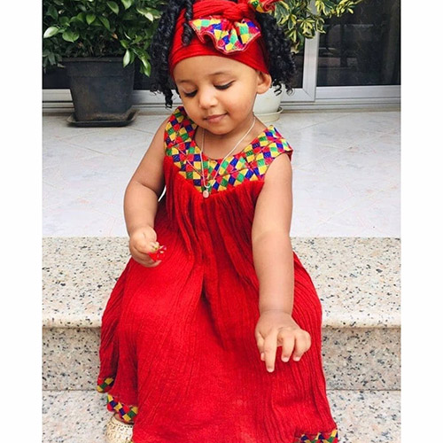 Traditional Red Kids Habesha Dress