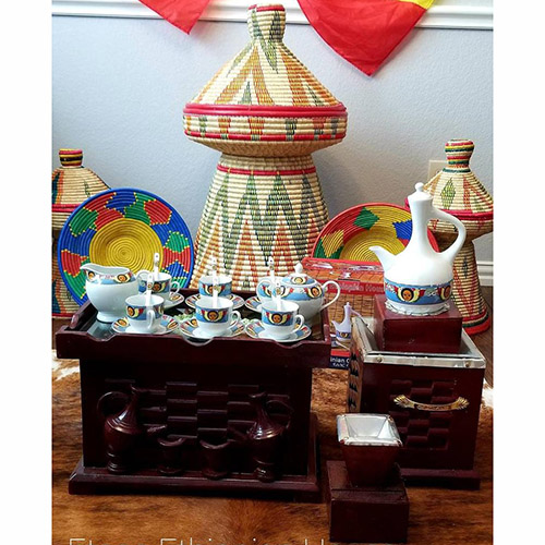 Ethiopian Eritrean Rekebot Cultural Coffee Table cup Set