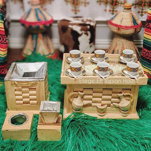 Natural wood color Hand Carved Ethiopian Eritrean Rekebot Cultural Coffee Table Set