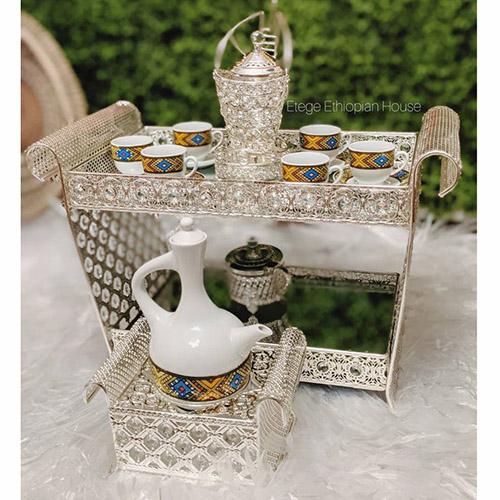 Large Ethiopian Eritrean Rekebot Cultural Coffee Table Set SILVER