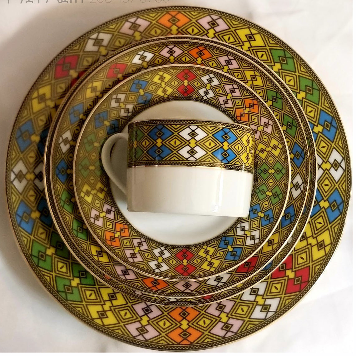 Ethiopian Eritrean Dinner Plate Set Tílét Design