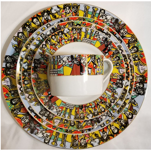 Ethiopian Eritrean Dinner Plate Set Queen Sheba Design GLOSS FINISH