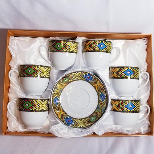 Ethiopian Eritrean Tea Cups and Saucers Set