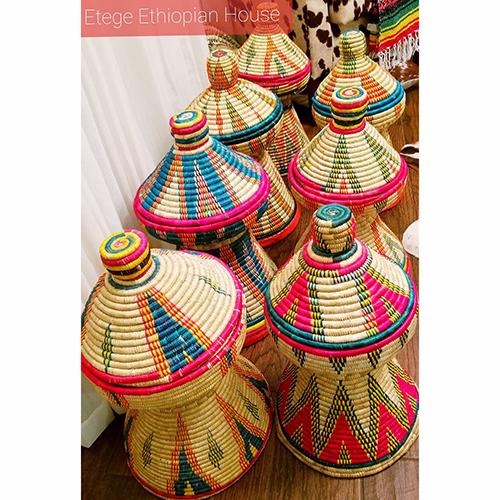 Ethiopian Eritrean Exquisite Hand Woven Decorative Serving Basket