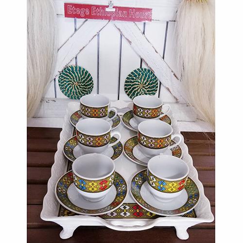 Ethiopian Eritrean Traditional Ceramic Rekebot Tray Set