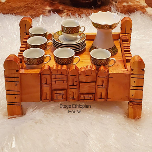 Hand Carved Ethiopian Eritrean Cultural Coffee Table set