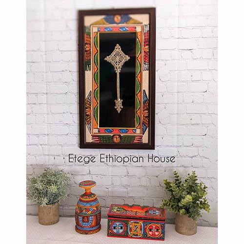 Ethiopian Eritrean Framed Hand Carved Cross Wall Art