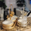 Ethiopian, Eritrean & Italian 3 pcs Desert and fruits Stand. Portable and Perfect for Birthdays,Graduation Baby showers. 9oz porcelain bowls